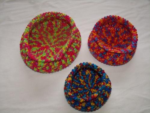 Crochet Spiral Bowls
